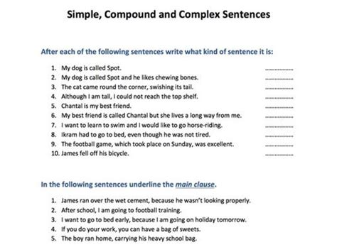 simple compound and complex sentences by skillsmastery