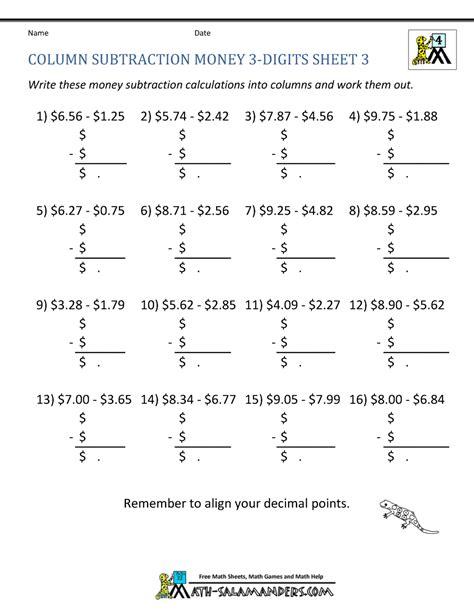 fourth grade math subtraction worksheet 4th grade subtraction worksheets