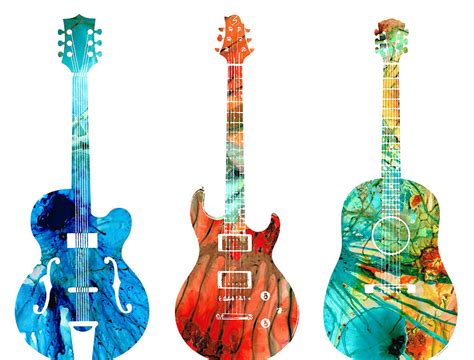 abstract guitars by painting by