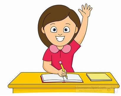 Clipart Student Hand Classroom Raising Raise Class