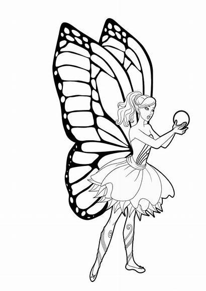 Barbie Mariposa Colorear Dibujos Dibujo Hadas Imprimir