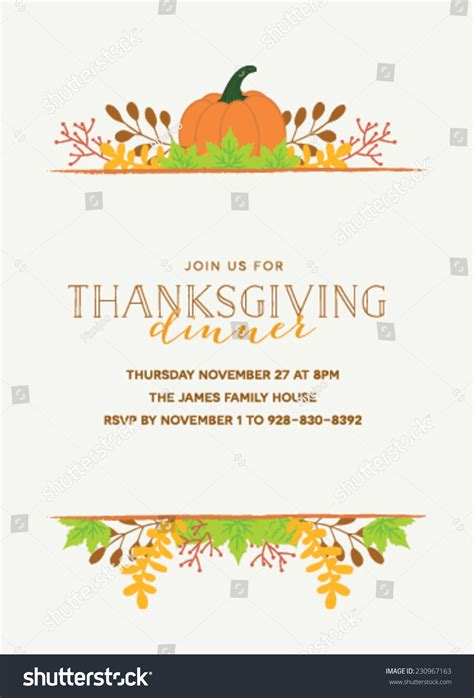 thanksgiving invitation template thanksgiving invitation template pumpkin autumn leaves stock vector 230967163