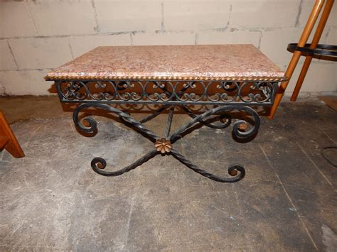 iron end table vintage wrought iron marble coffee table 1930s for 1930