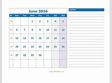 June 2016 Calendar WikiDatesorg
