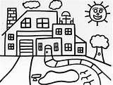 Coloring Houses Pages Popular sketch template