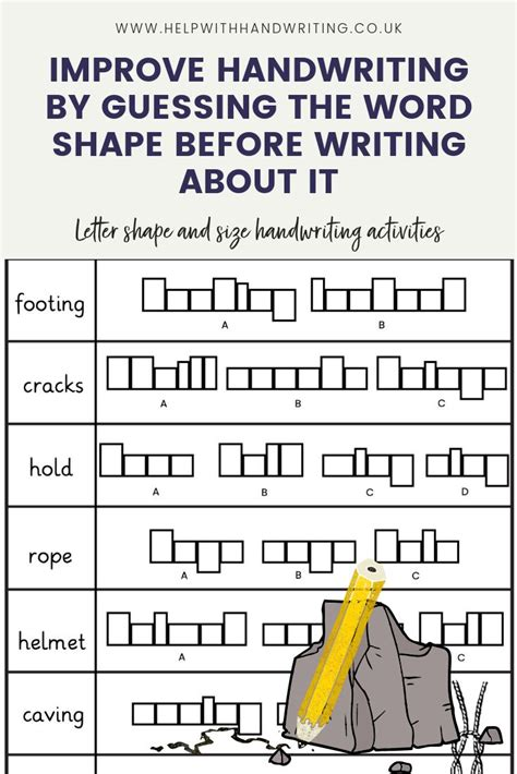 letter shape size rock climbing theme worksheet