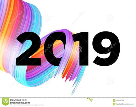 2019 Happy New Year Logo Design. Vector Background. Stock