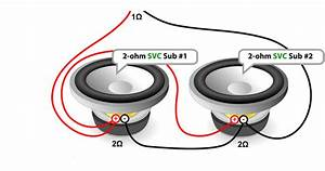 Parallel Wiring Single 2 Ohm Subwoofers To A Single 1 Ohm