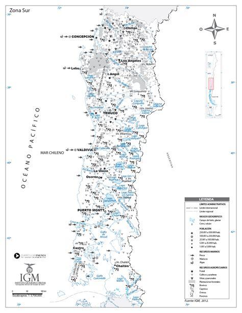 Mapa de la zona Sur Curriculum Nacional MINEDUC Chile