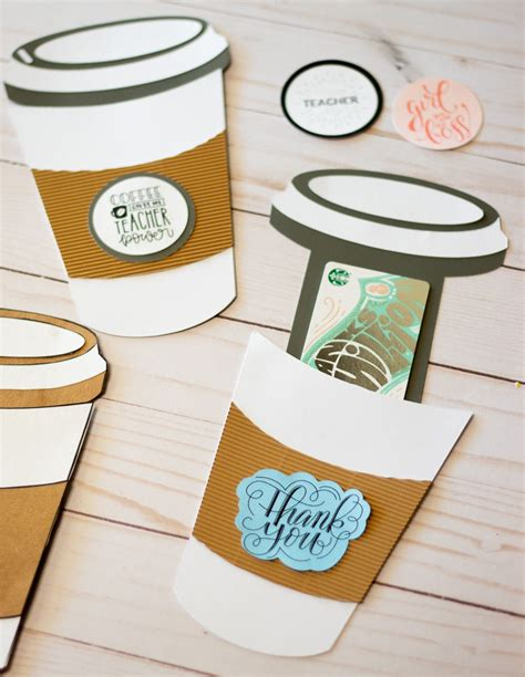 coffee cup gift card holder template    svg file