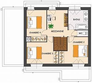plan de maison contemporaine 4 chambres avec mezzanine With plan maison avec mezzanine