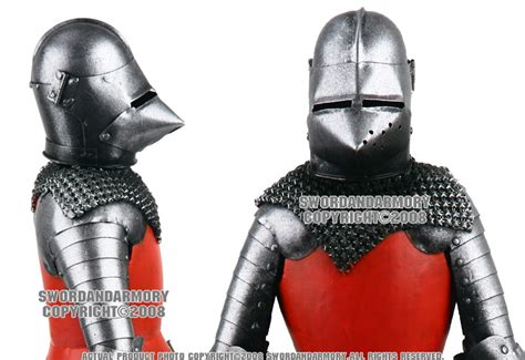 Bascinet Medieval Crusader Knight Armor W/ Great Sword