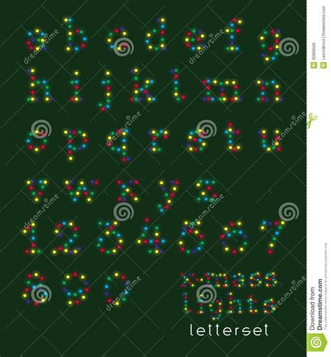 letterset christmas lights lowercase royalty  stock