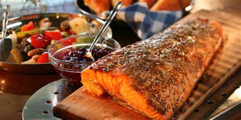 bbq salmon   plank  foccacia  grilled veggies