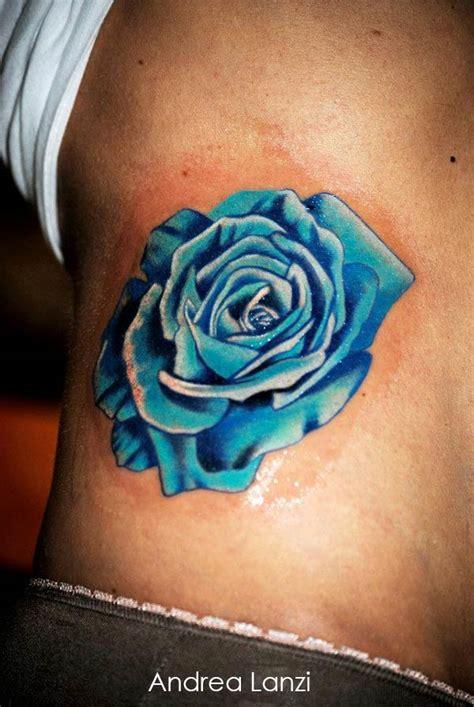 tatouage rose turquoise inkage