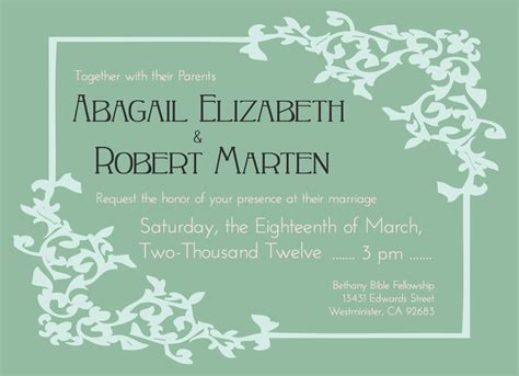 Wedding Invitation Wording No Parents