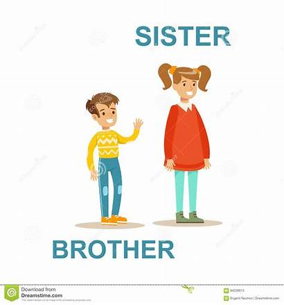 Sister Older Brother Younger Fratello Cartoon Clipart