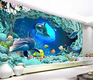 Poster Mural 3d : high quality customize size modern 3d dolphin mural 3d wallpaper 3d wall papers for tv backdrop ~ Teatrodelosmanantiales.com Idées de Décoration