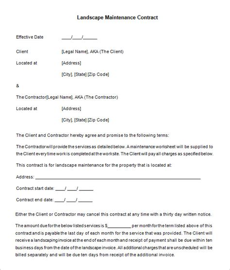 landscape contracts forms landscape contracts forms sle business template