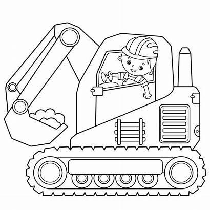 Excavator Coloring Construction Outline Cartoon Vehicles Bucket