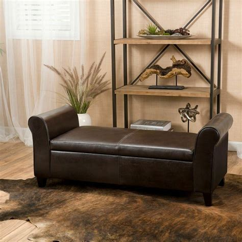 contemporary brown leather armed storage ottoman bench ebay