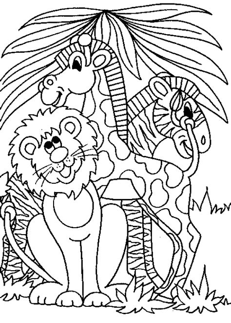 jungle animals coloring pages kidsuki
