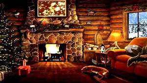 Log Cabin Cozy Fireplace Snow Outside Christmas Time