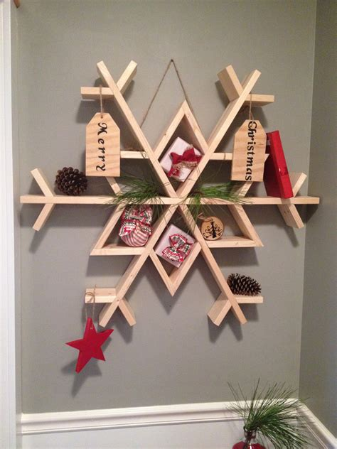 snow  diy wooden snowflake shelf