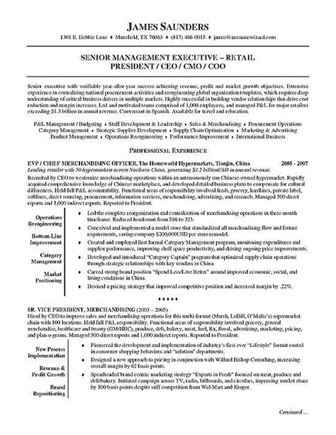 Executive Resume Sles by Retail Executive Sell Sales Resume Exles Resume