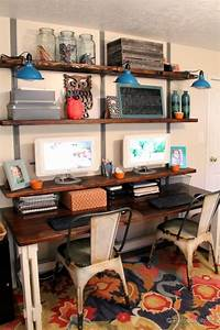 10 diy industrial desk tutorials for your home office for Home office closet organization ideas