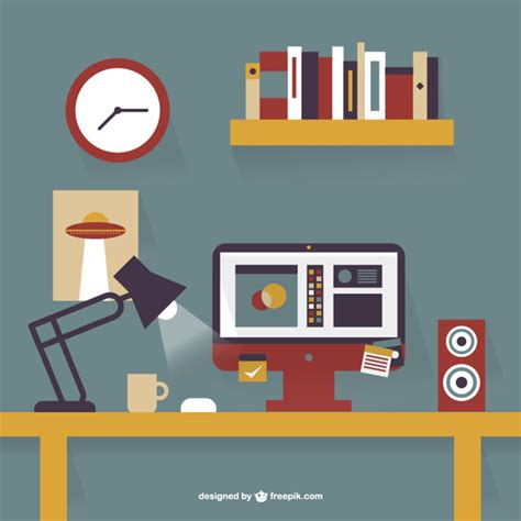 clipart bureau office desk flat design vector free