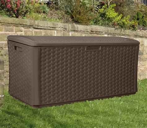 suncast wicker deck box 124 gallon 100 outdoor storage containers suncast deck suncast