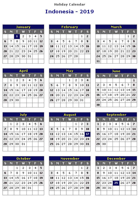 yearly calendar template indonesia holidays public
