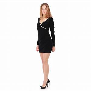 robe pull noire col cache coeur a strass femme pas chere With robe cache coeur noire
