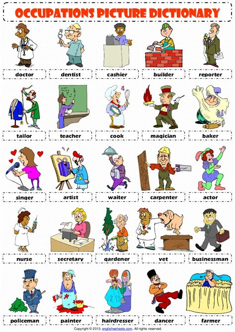 Jobs Occupations Professions Pictionary Poster Vocabulary Worksheet 1