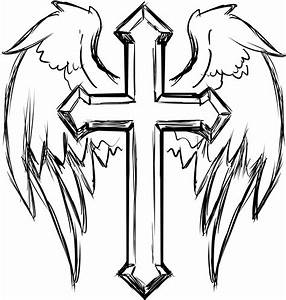 Clipart - Cross With Wings Line Art