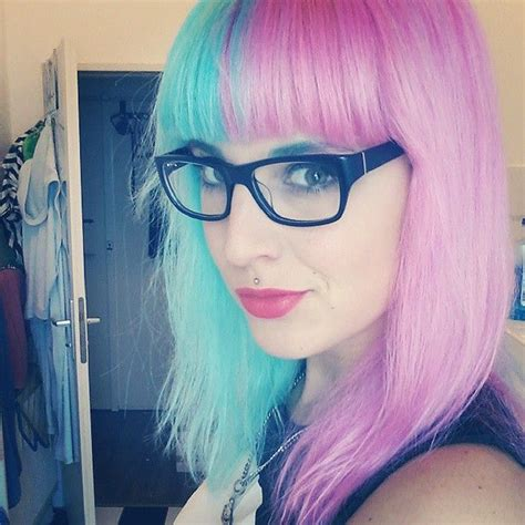 Light Blue And Pink Split Hair Rockabilly Hairstyles And