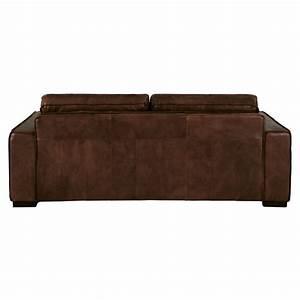 canape lit 3 places en cuir marron colonel maisons du monde With canape lit cuir 3 places
