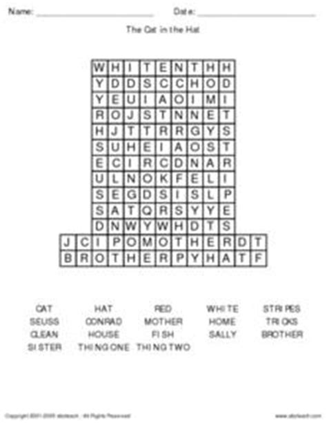 the cat in the hat word search 1st grade worksheet lesson planet