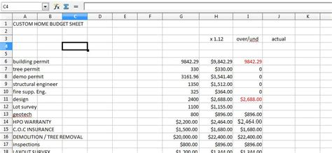 home renovation home improvement spreadsheet