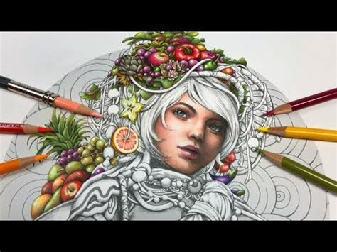 fruits coloring  girl  fruits part  serene coloring book youtube
