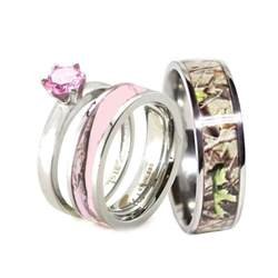 his pink camo band engagement wedding ring set titanium stainless steel ebay - Camouflage Wedding Ring Sets