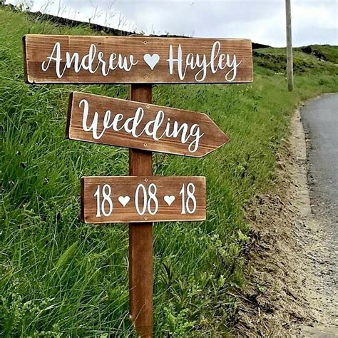 Wedding Signs by Personalised Rustic Wedding Signpost Large Vintage Wooden