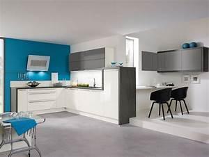 cuisine aviva en l fonctionnelle bleu blanc gris With cuisine gris et bleu