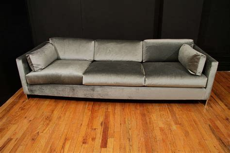 mid century velvet sofa mid century chrome and velvet sofa in the style of milo