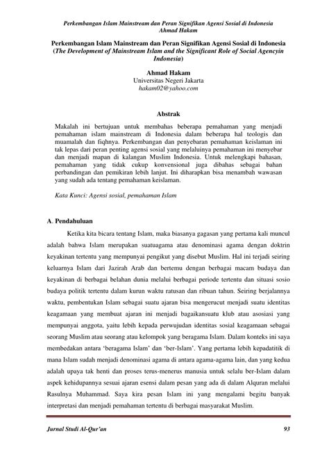 (PDF) Perkembangan Islam Mainstream dan Peran Signifikan