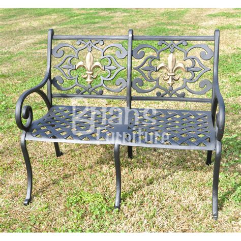fleur de lis loveseat outdoor furniture cast aluminum
