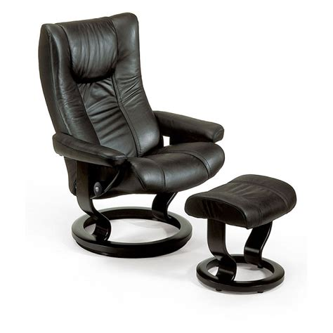 Stressless Wing Medium  Ee  Recliner Ee   And Ottoman Cl Ic