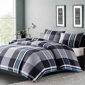 mens boys teens bedding comforter set twin or full queen blue gray white plaid ebay