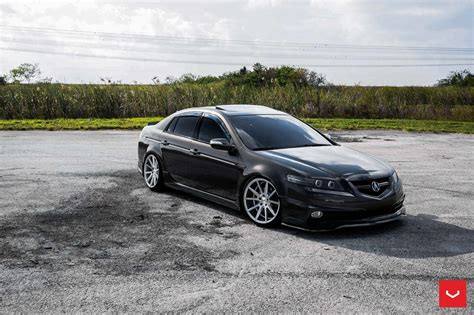 stanced acura tl with a front bumper lip by vossen wheels